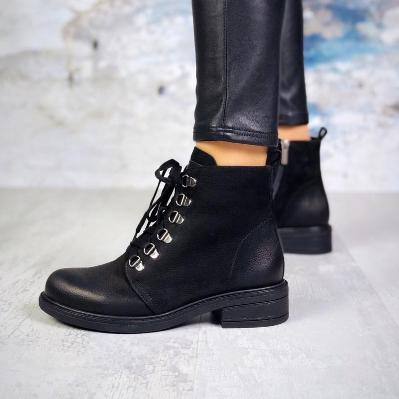 ❤ женские черные демисезонные осенние кожаные ботинки сапоги б...