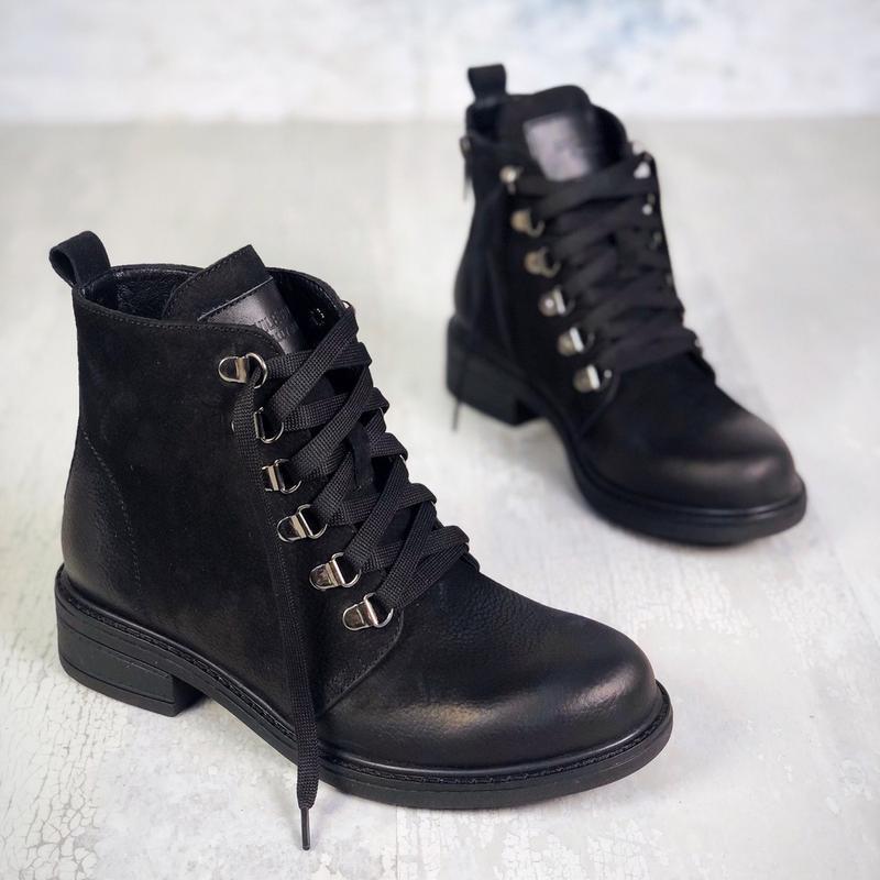 ❤ женские черные демисезонные осенние кожаные ботинки сапоги б... - Фото 2