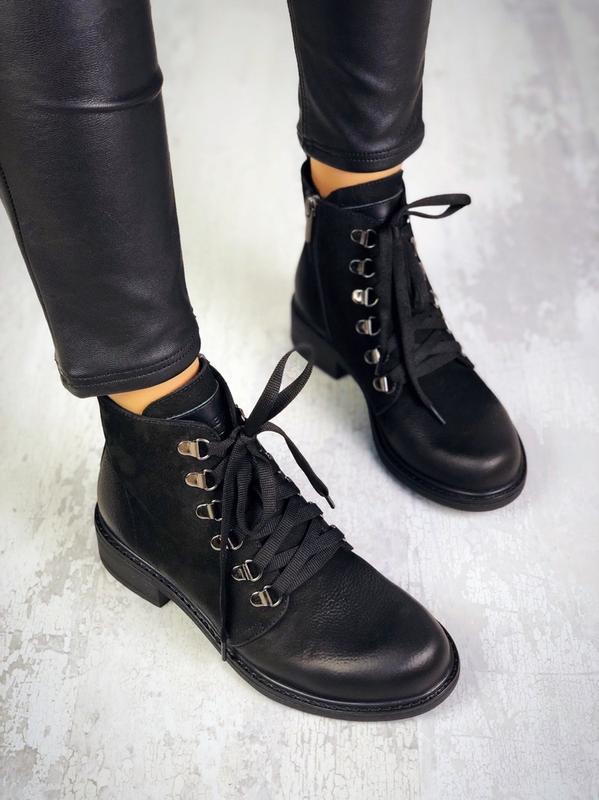 ❤ женские черные демисезонные осенние кожаные ботинки сапоги б... - Фото 4
