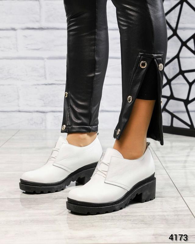 ❤ женские белые кожаные туфли на толстой подошве ❤ - Фото 2