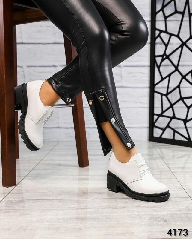 ❤ женские белые кожаные туфли на толстой подошве ❤ - Фото 3