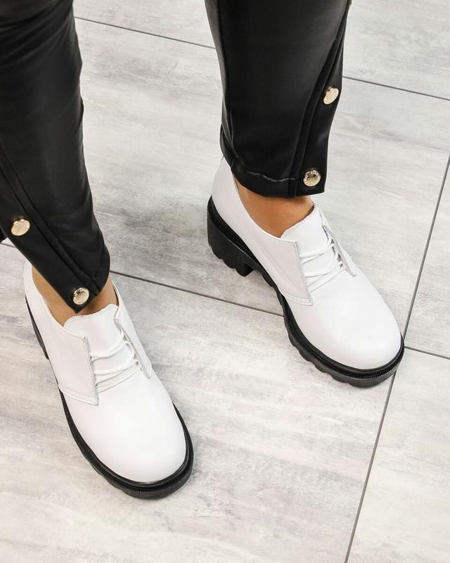 ❤ женские белые кожаные туфли на толстой подошве ❤ - Фото 4