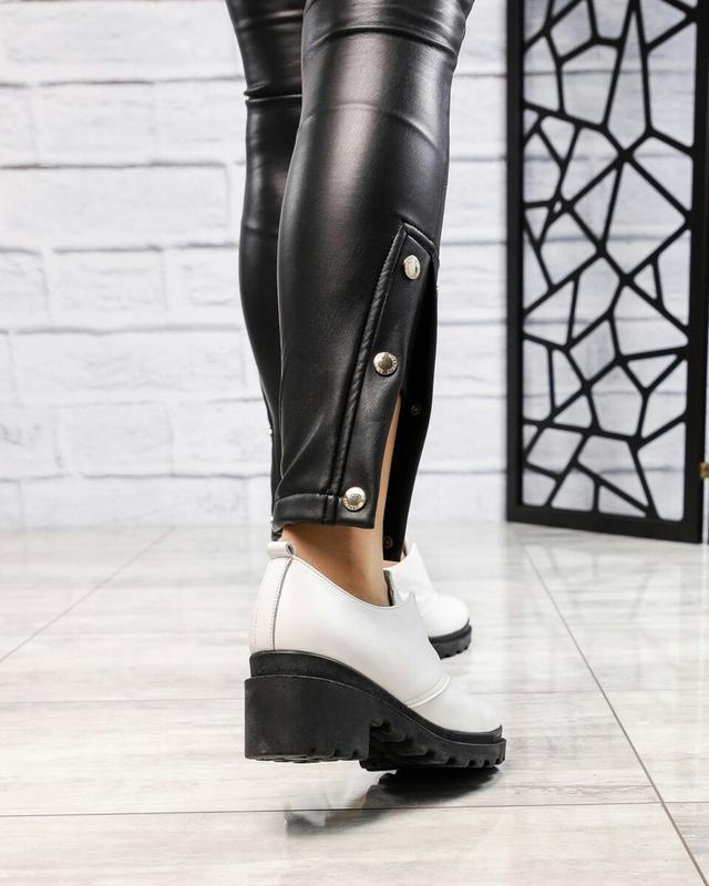 ❤ женские белые кожаные туфли на толстой подошве ❤ - Фото 5