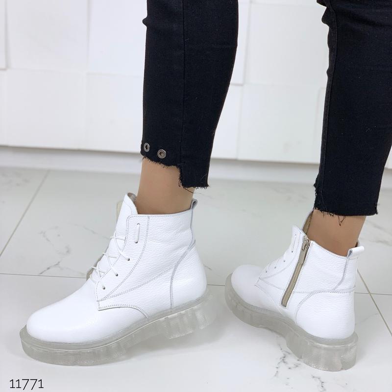 ❤ женские белые зимние кожаные ботинки сапоги ботильоны на меху ❤ - Фото 2