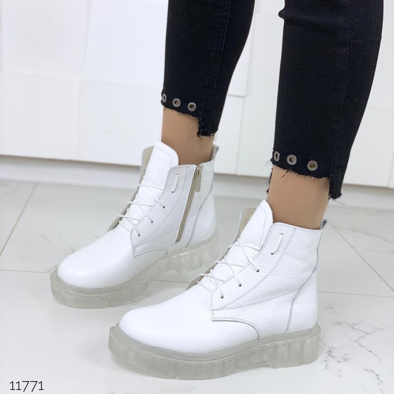 ❤ женские белые зимние кожаные ботинки сапоги ботильоны на меху ❤ - Фото 3