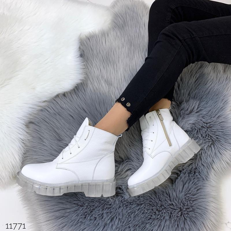 ❤ женские белые зимние кожаные ботинки сапоги ботильоны на меху ❤ - Фото 4