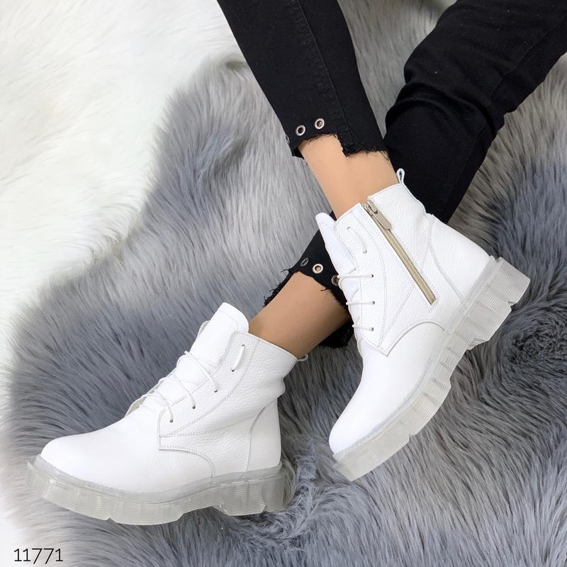 ❤ женские белые зимние кожаные ботинки сапоги ботильоны на меху ❤ - Фото 5