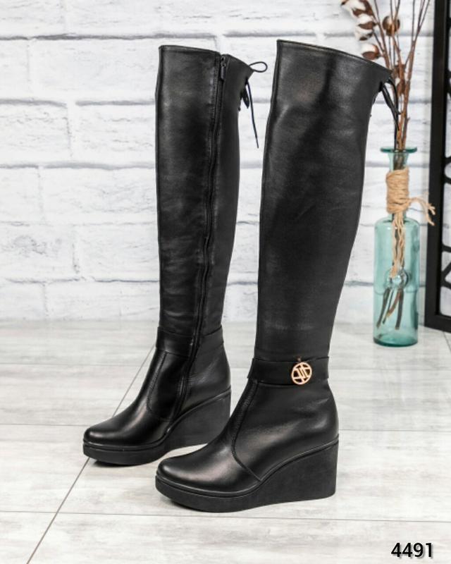 ❤ женские черные зимние кожаные высокие сапоги ботфорты ботиль...