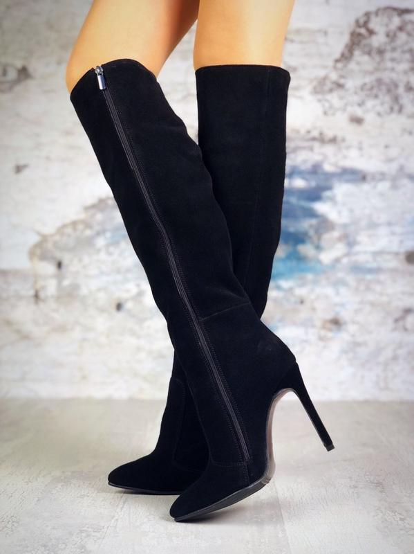 ❤ женские черные демисезонные осенние замшевые высокие сапоги ... - Фото 4
