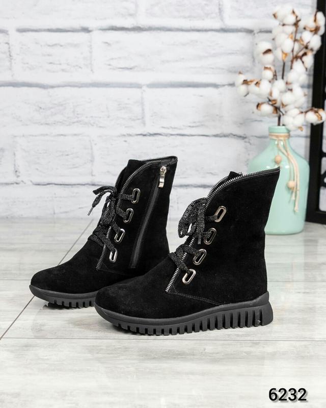 ❤ женские черные зимние замшевые ботинки сапоги ботильоны на ш...