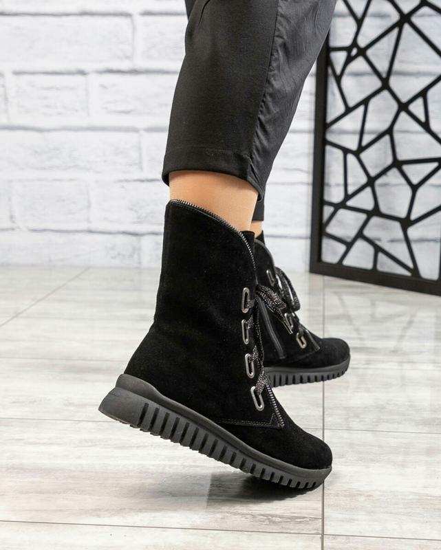 ❤ женские черные зимние замшевые ботинки сапоги ботильоны на ш... - Фото 2