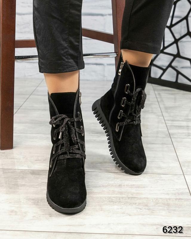 ❤ женские черные зимние замшевые ботинки сапоги ботильоны на ш... - Фото 4