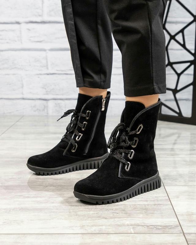 ❤ женские черные зимние замшевые ботинки сапоги ботильоны на ш... - Фото 5