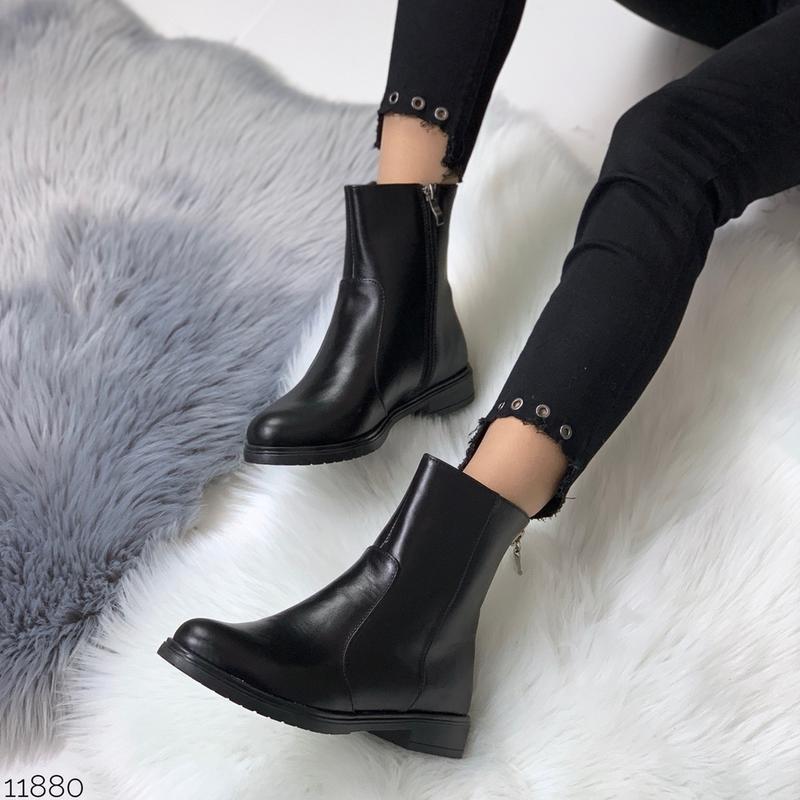 ❤ женские черные демисезонные осенние кожаные ботинки сапоги б... - Фото 3