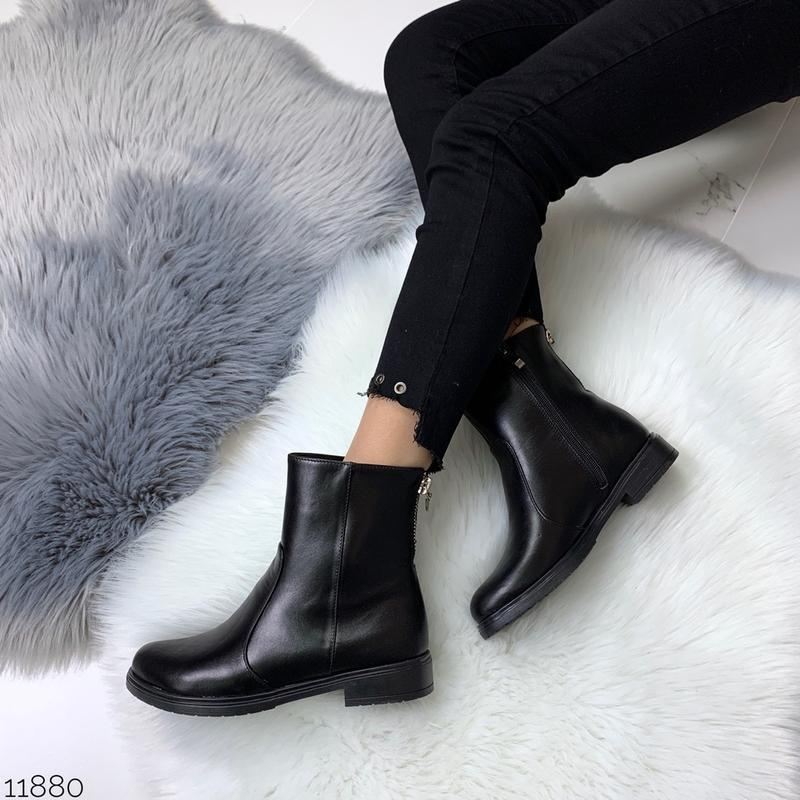 ❤ женские черные демисезонные осенние кожаные ботинки сапоги б... - Фото 5