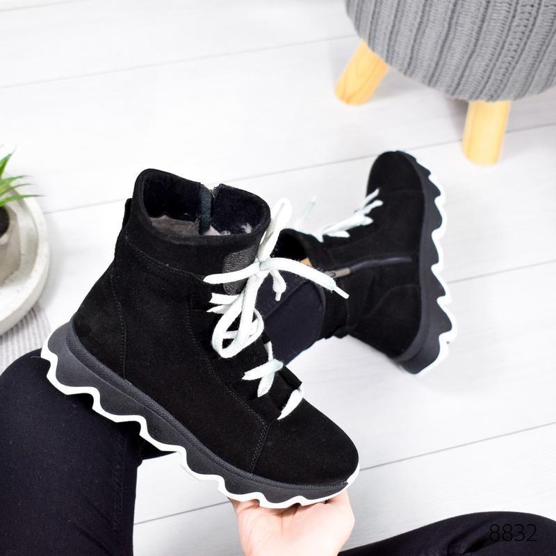 ❤ женские черные зимние замшевые ботинки сапоги ботильоны на ш... - Фото 3