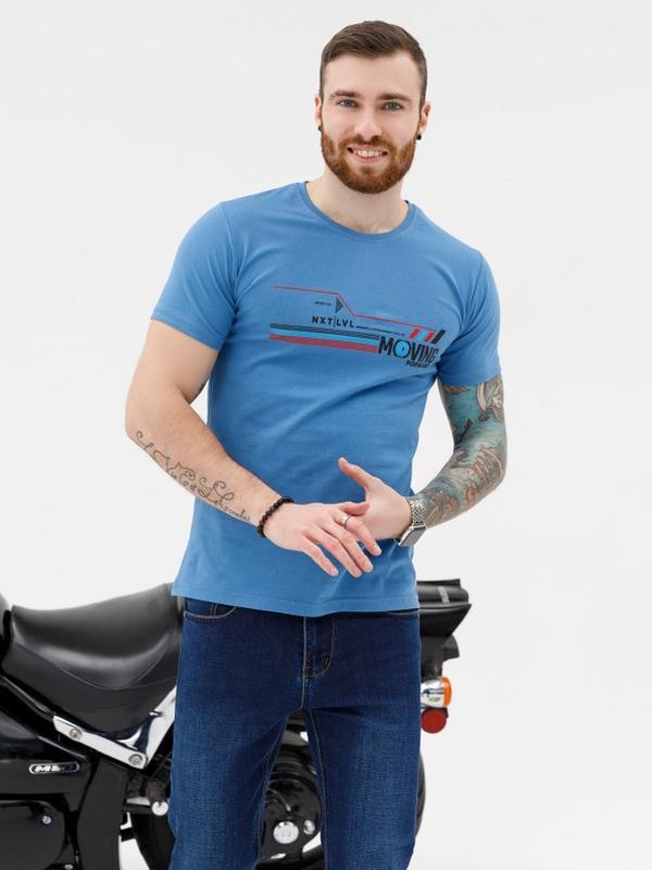 Синяя трикотажная принтованная футболка