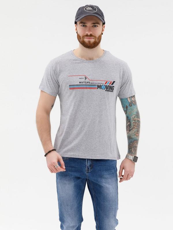 Серая трикотажная принтованная футболка