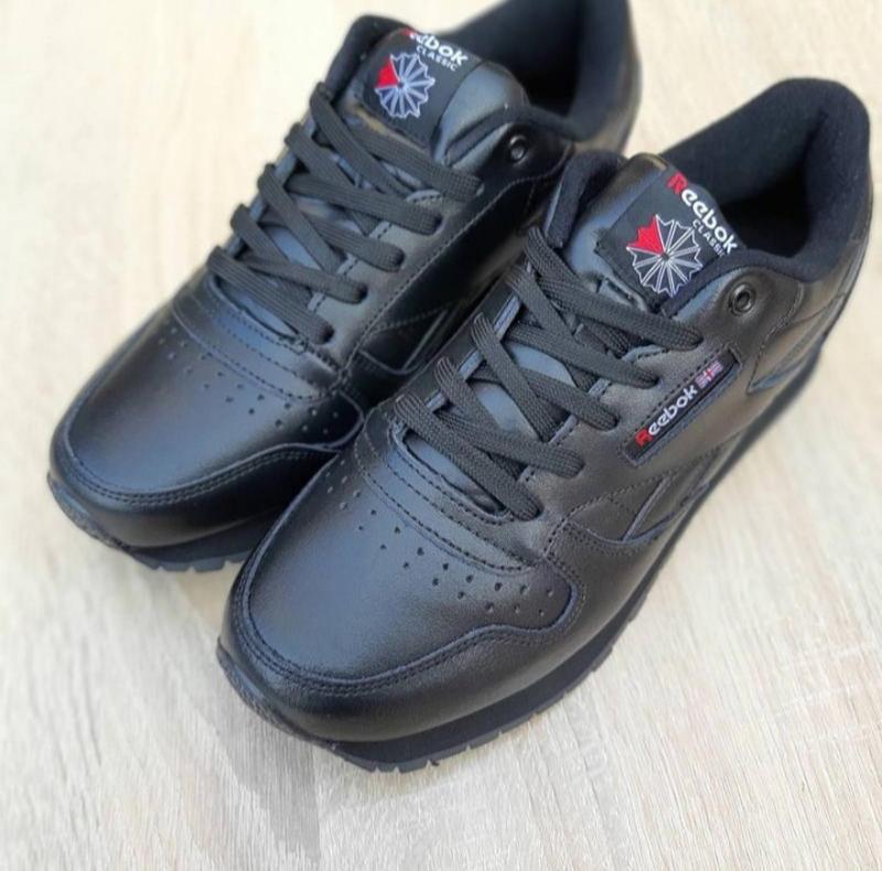 Мужские кроссовки reebok classic черные,кожаные,весна - Фото 2