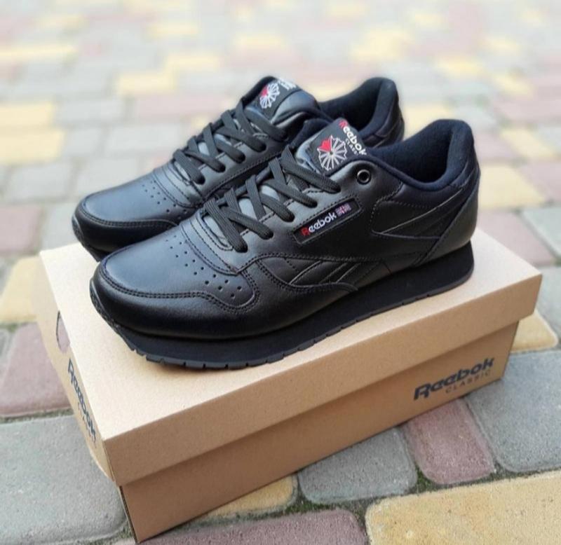 Мужские кроссовки reebok classic черные,кожаные,весна - Фото 3