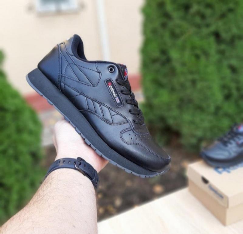 Мужские кроссовки reebok classic черные,кожаные,весна - Фото 4