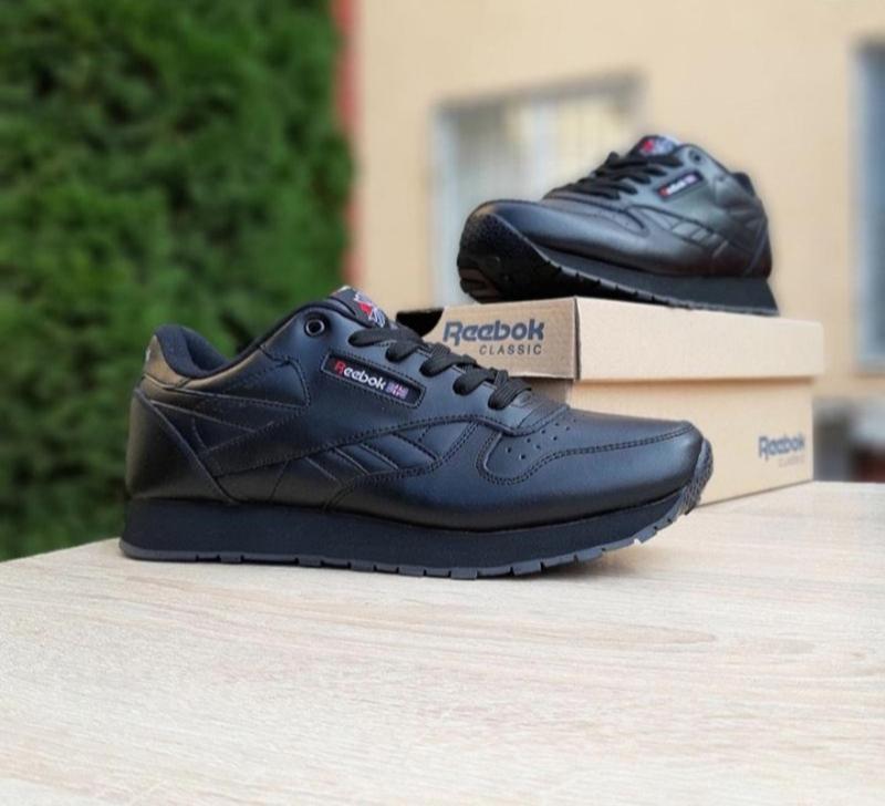 Мужские кроссовки reebok classic черные,кожаные,весна - Фото 5