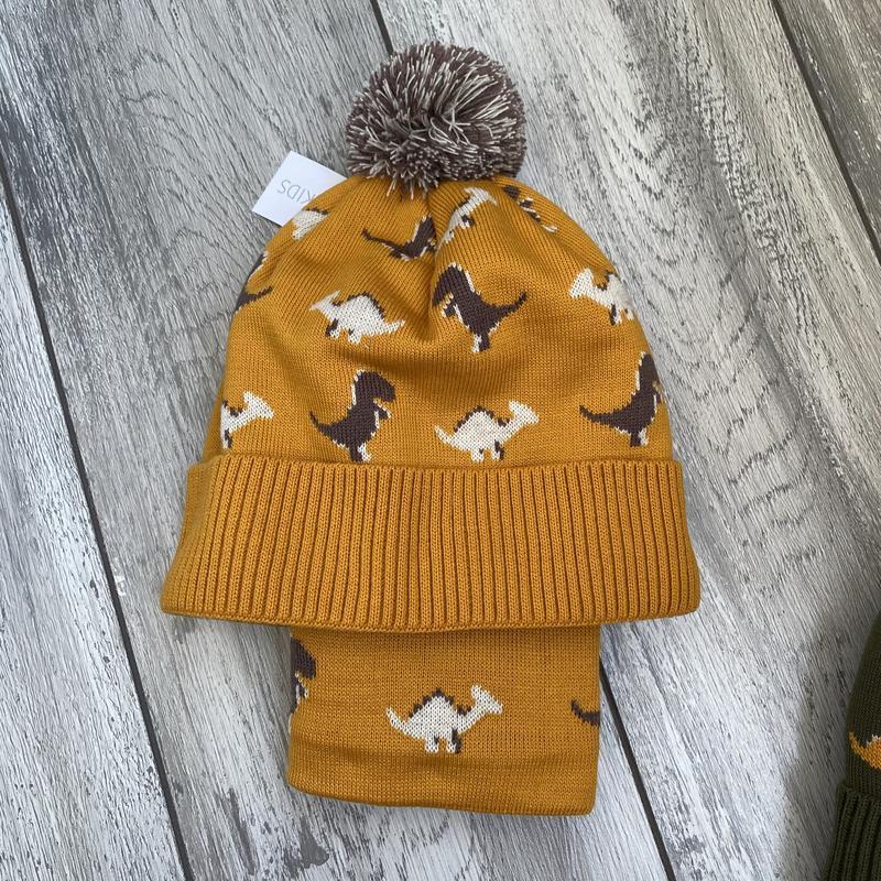 Комплект зима на флисе шапка + хомут 52-56 с динозаврами