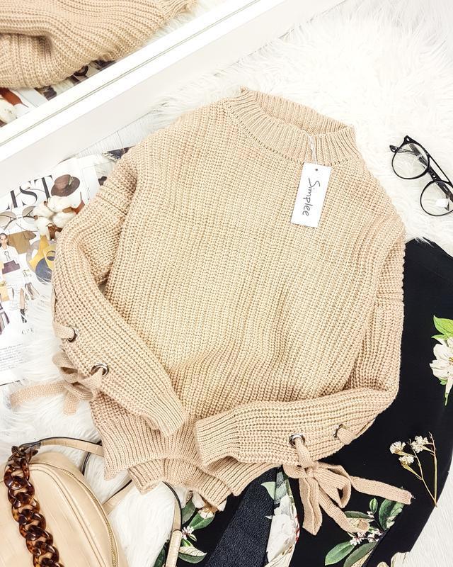 Бежевый вязанный свитер