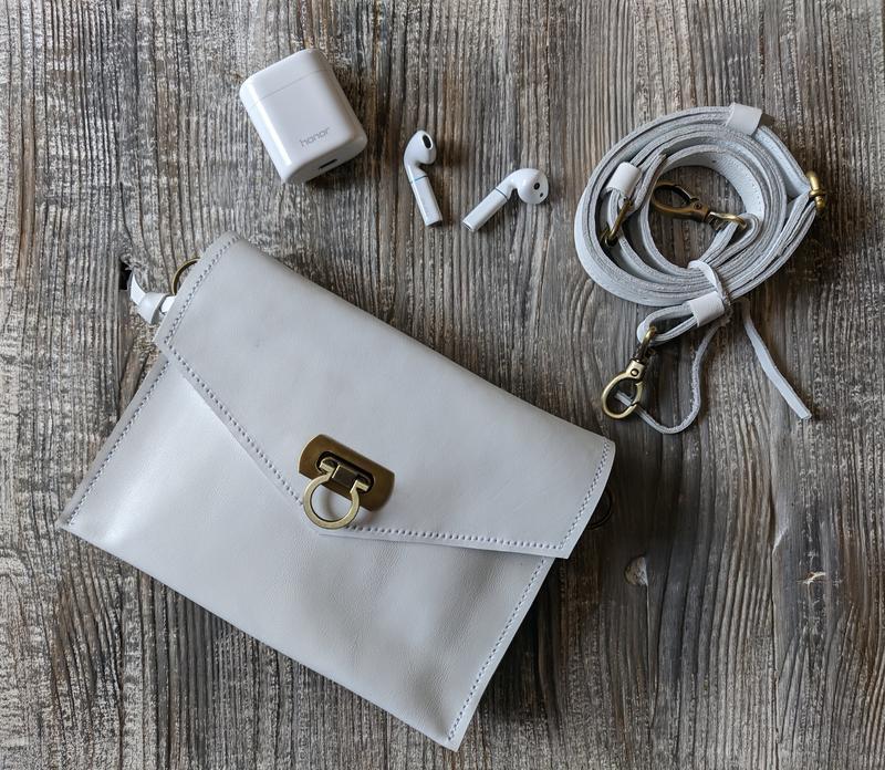 """Поясная сумка """"інфініті"""" белый. натуральная кожа."""