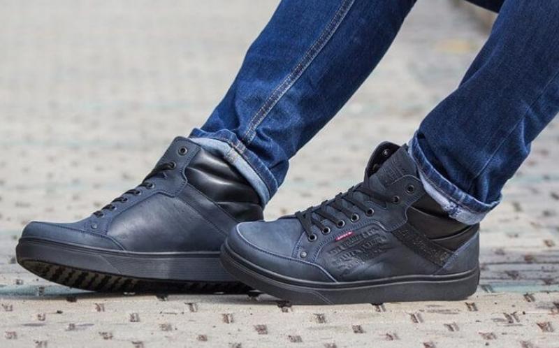 Натуральная кожа зима теплые мужские ботинки левис синие