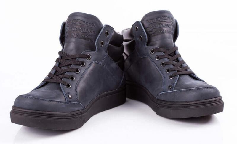 Натуральная кожа зима теплые мужские ботинки левис синие - Фото 3