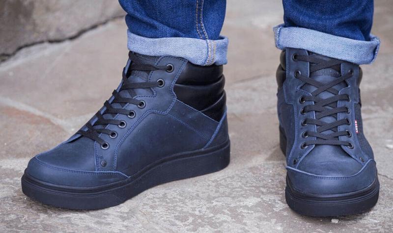 Натуральная кожа зима теплые мужские ботинки левис синие - Фото 4
