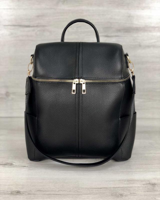 Молодежный сумка-рюкзак фроги черного цвета