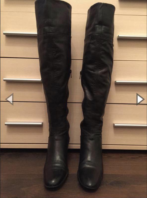 Модные черные кожаные ботфорты!