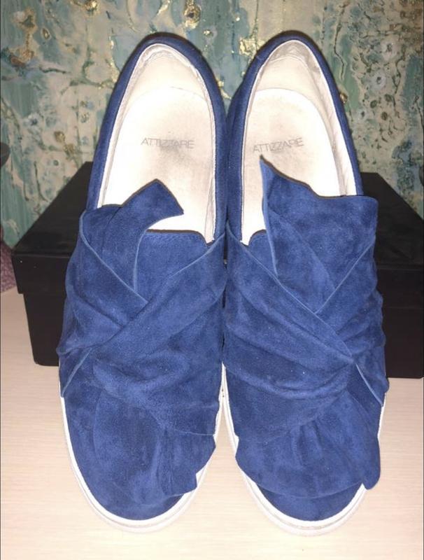 Синие замшевые слипоны attizare!
