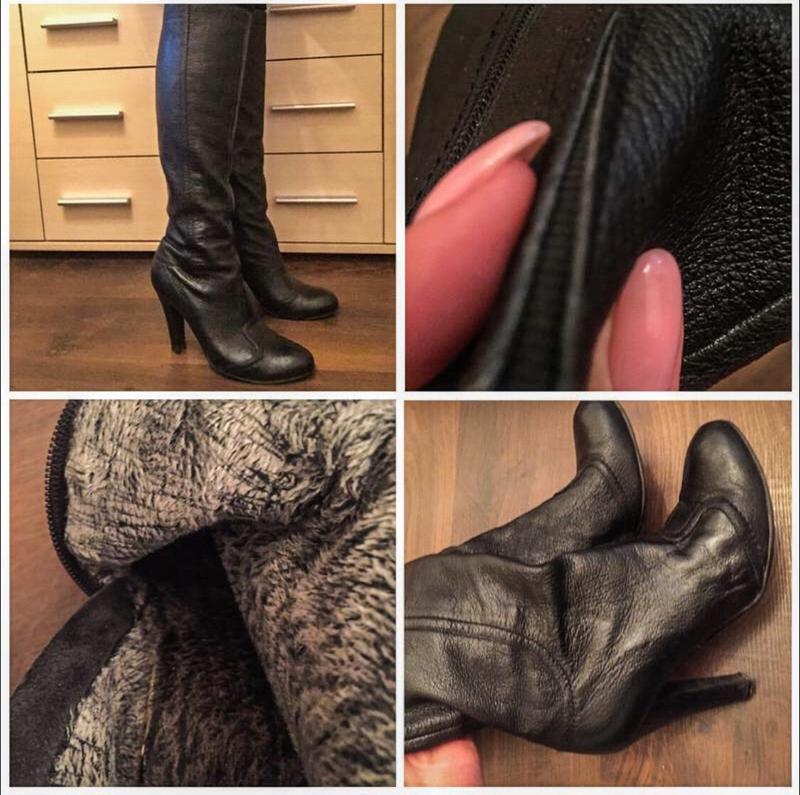 Черные кожаные сапоги на утеплении basconi!