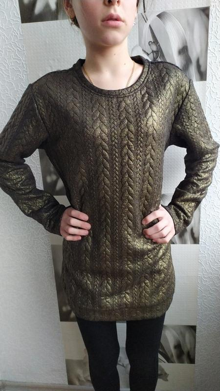 Фирменный свитер оверсайз, туника для девочки