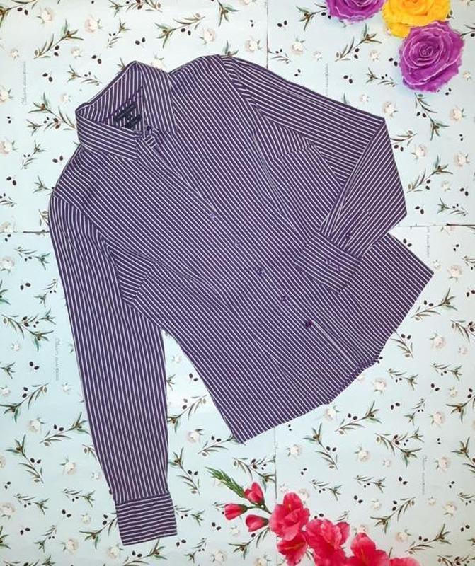 Приталенная фиолетовая рубашка блуза tommy hilfiger в полоску,...