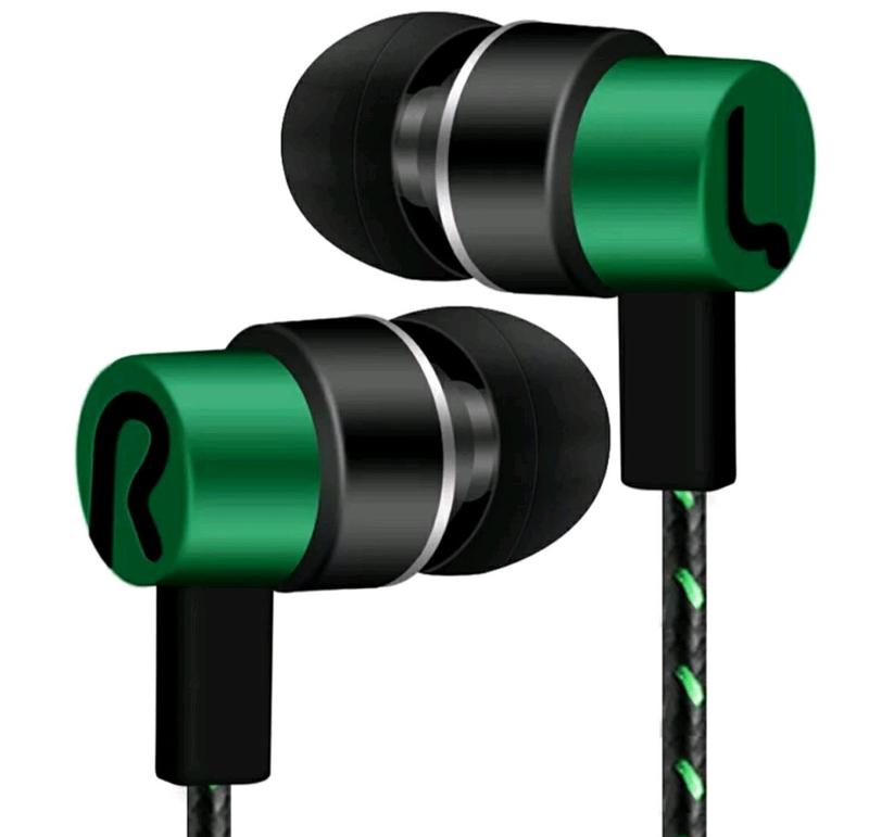 НОВИНКА - зелёные вакуумные наушники для телефона - гарнитура