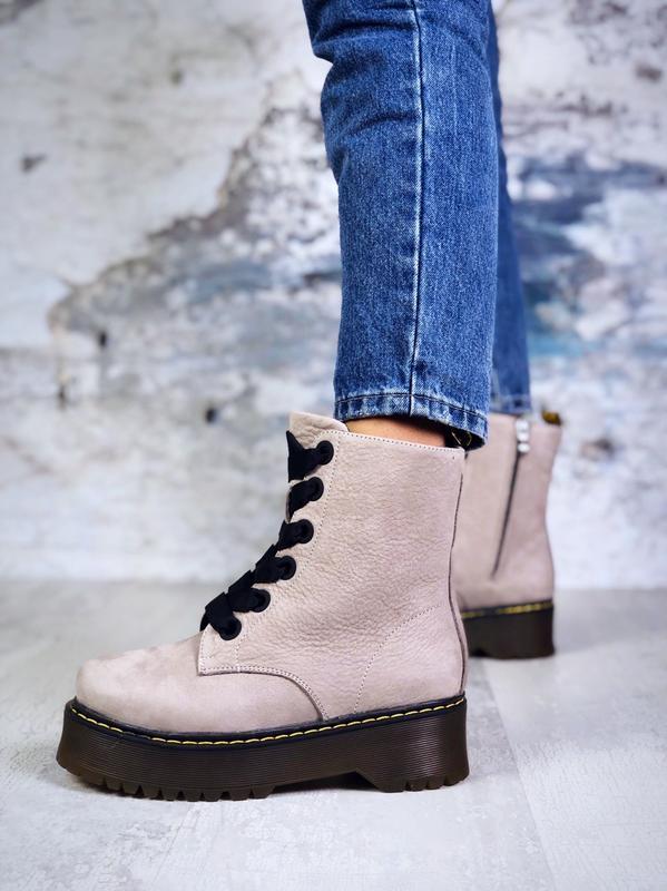 Супер-хит! зимние/осенние кожаные ботинки берцы на массивной п...