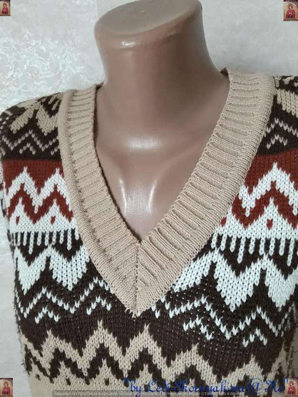 Новый красивый свитер/кофта  в  орнамент с v-образным вырезом,... - Фото 5