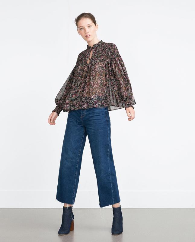 Стильная шифоновая блуза zara l---46-48 размер.