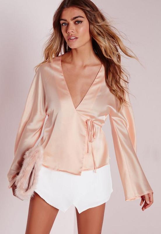 Атласная блузка missguided 12--46 размер.