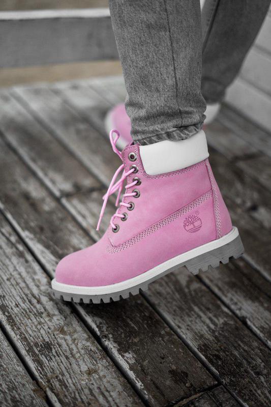 Шикарные осенние женские ботинки/ сапоги timberland pink 😍 (ев...