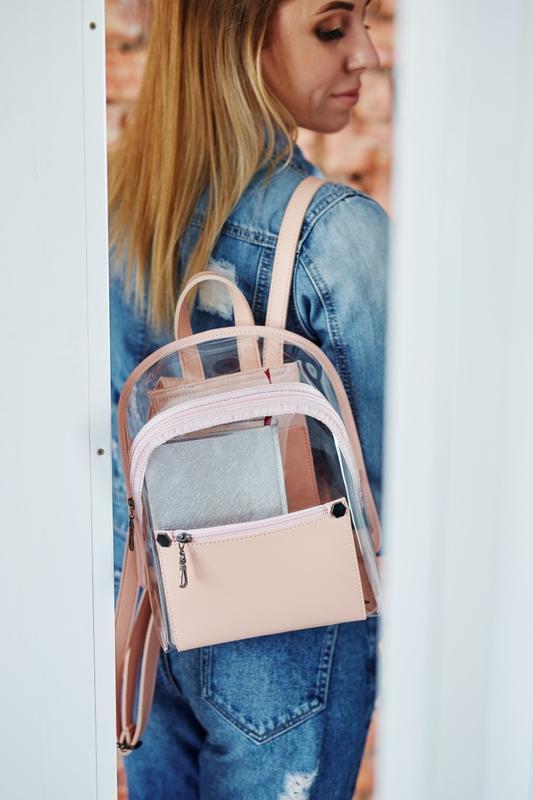 Силиконовый прозрачный рюкзак пудровый