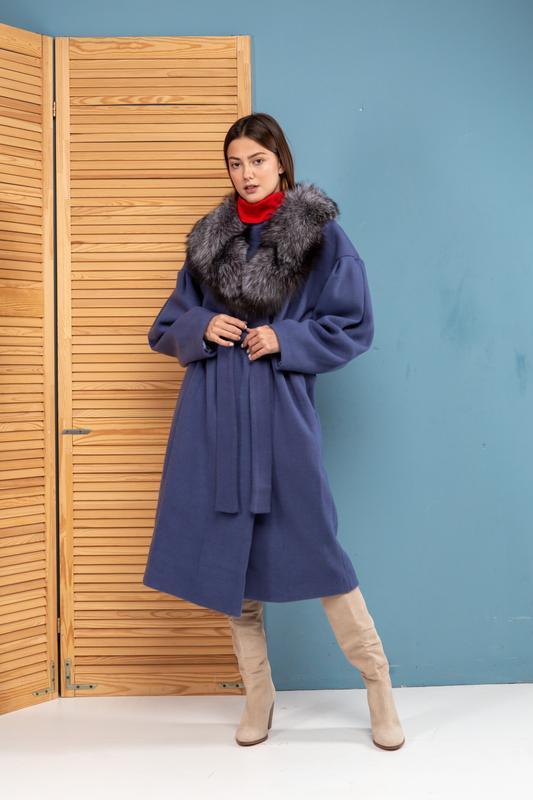Пальто шерсть кашемир -воротник чернобурка италия размеры
