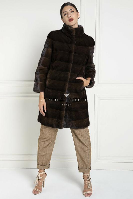 Норковая шуба пальто классика поперечный крой новая коллекция ...