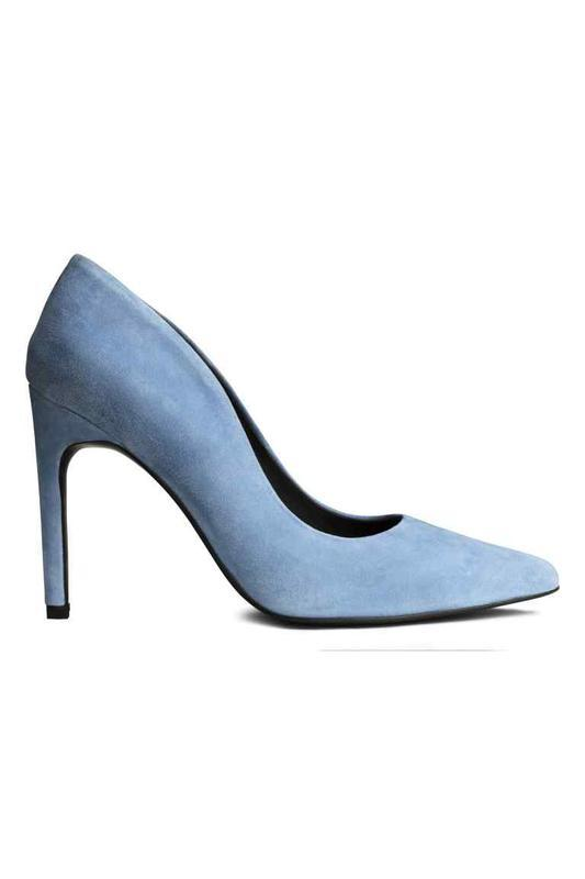 Замшевые туфли лодочки небесно голубого цвета от h&m премиум к...