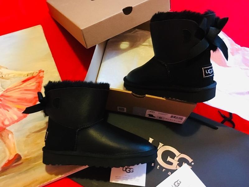 Ugg classic mini bailey bow ii leather black, женские зимние у...