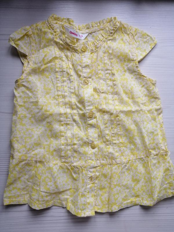 Летняя детская рубашка с баской для девочки
